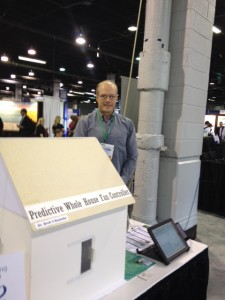 Brett Warneke and his Predictive Whole House Fan Controller display at Sensors Expo.